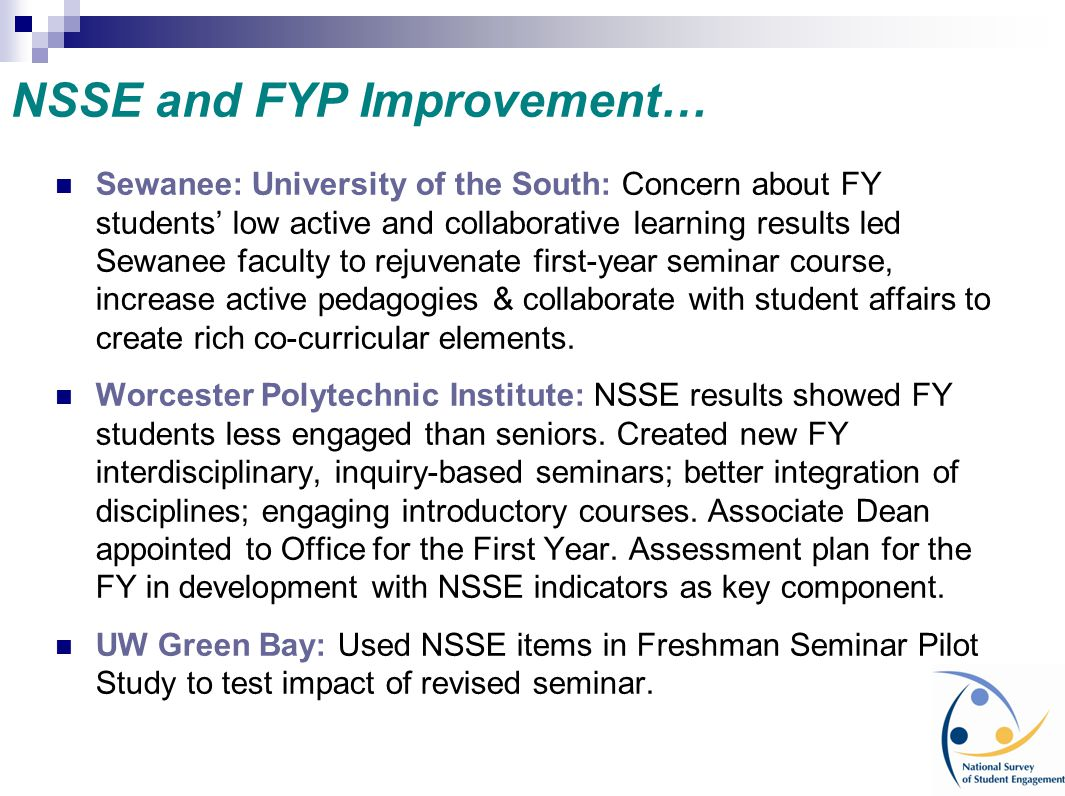NSSE and FYP Improvement…