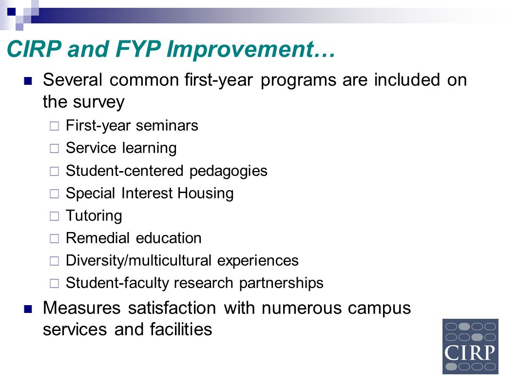 CIRP and FYP Improvement…