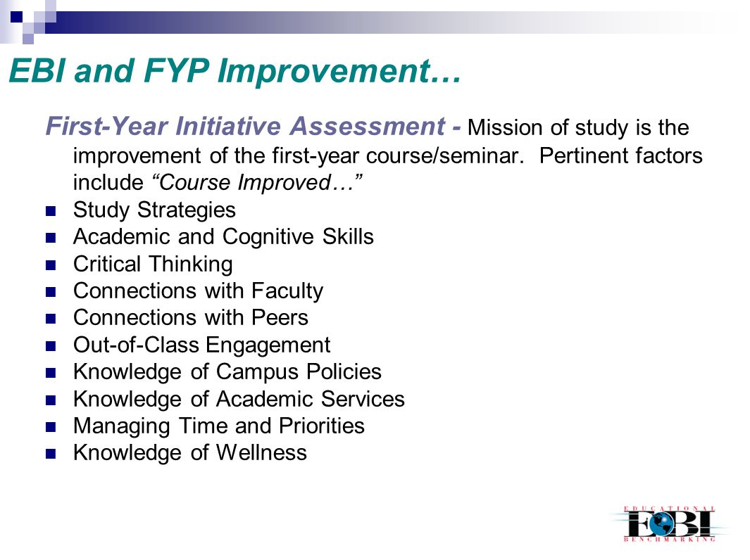 EBI and FYP Improvement…
