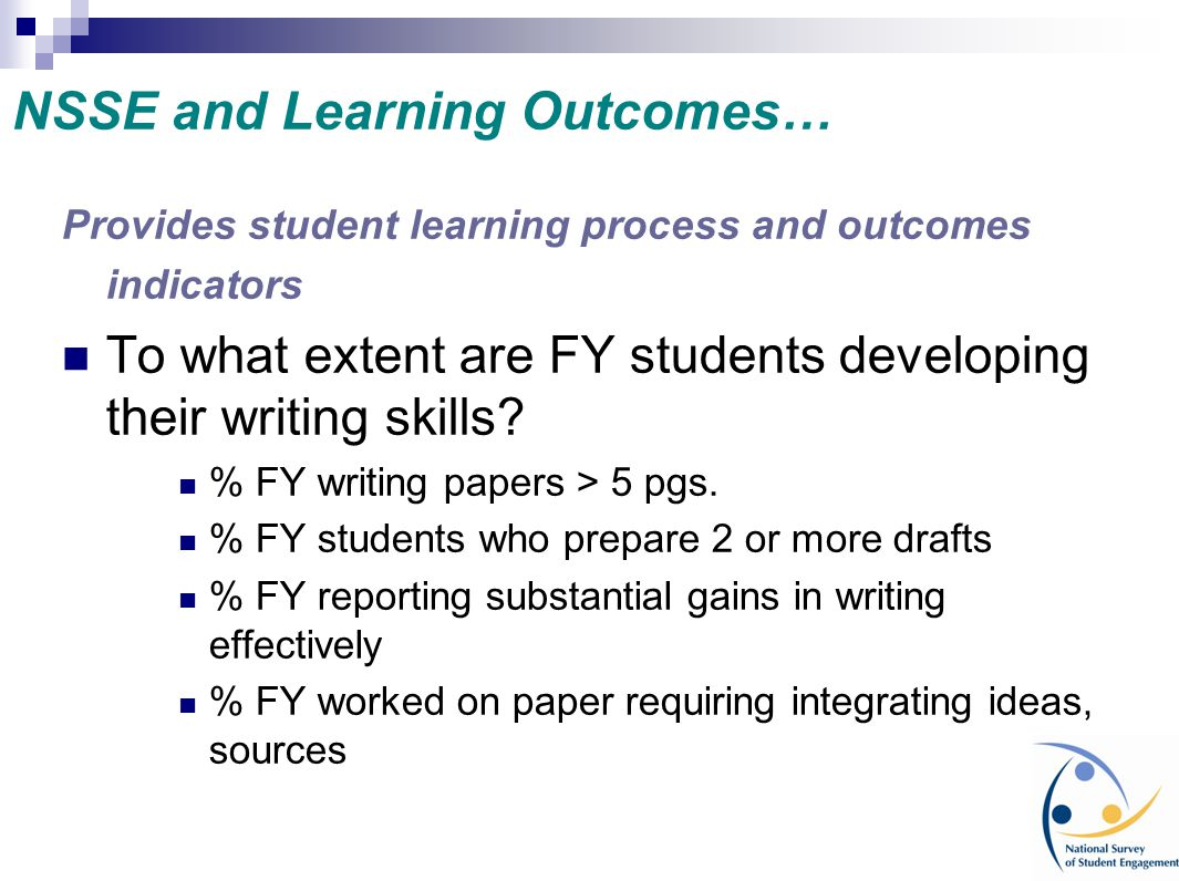 NSSE and Learning Outcomes…