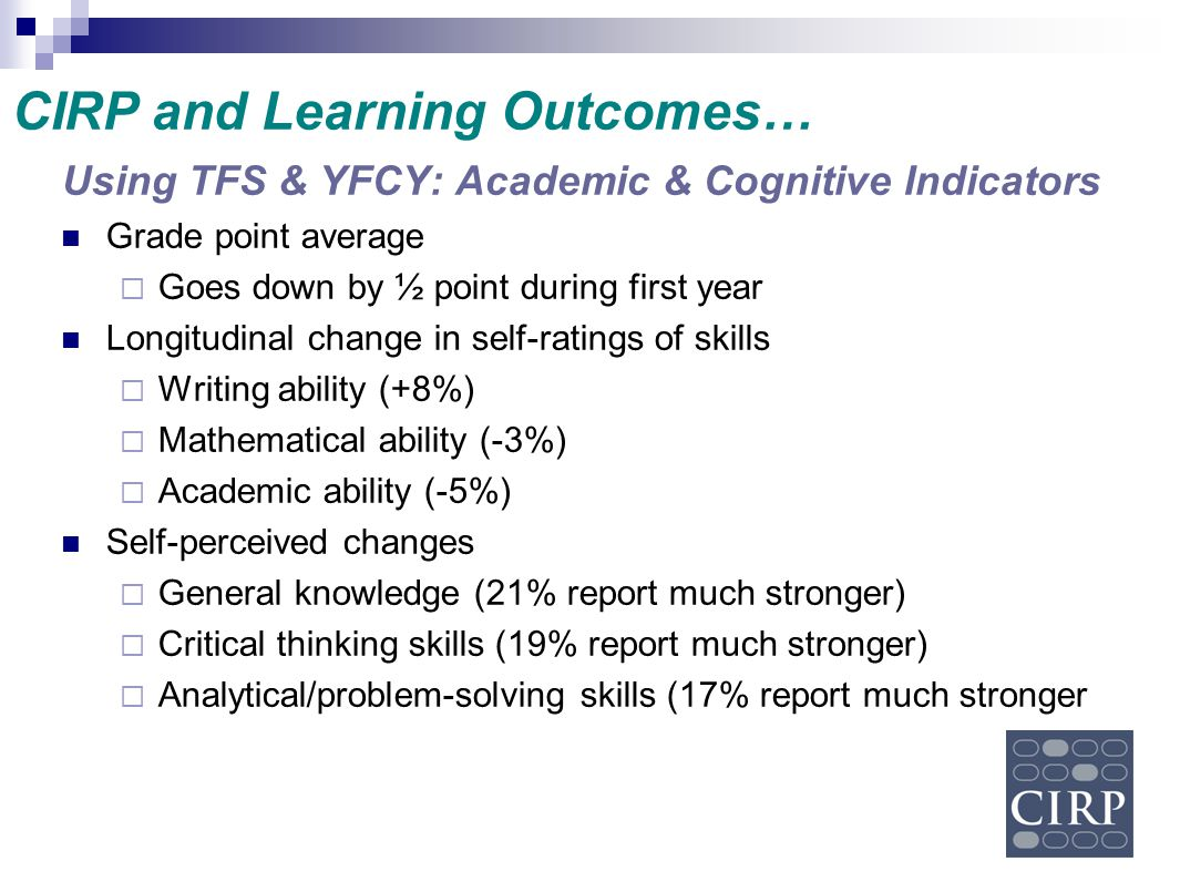 CIRP and Learning Outcomes…