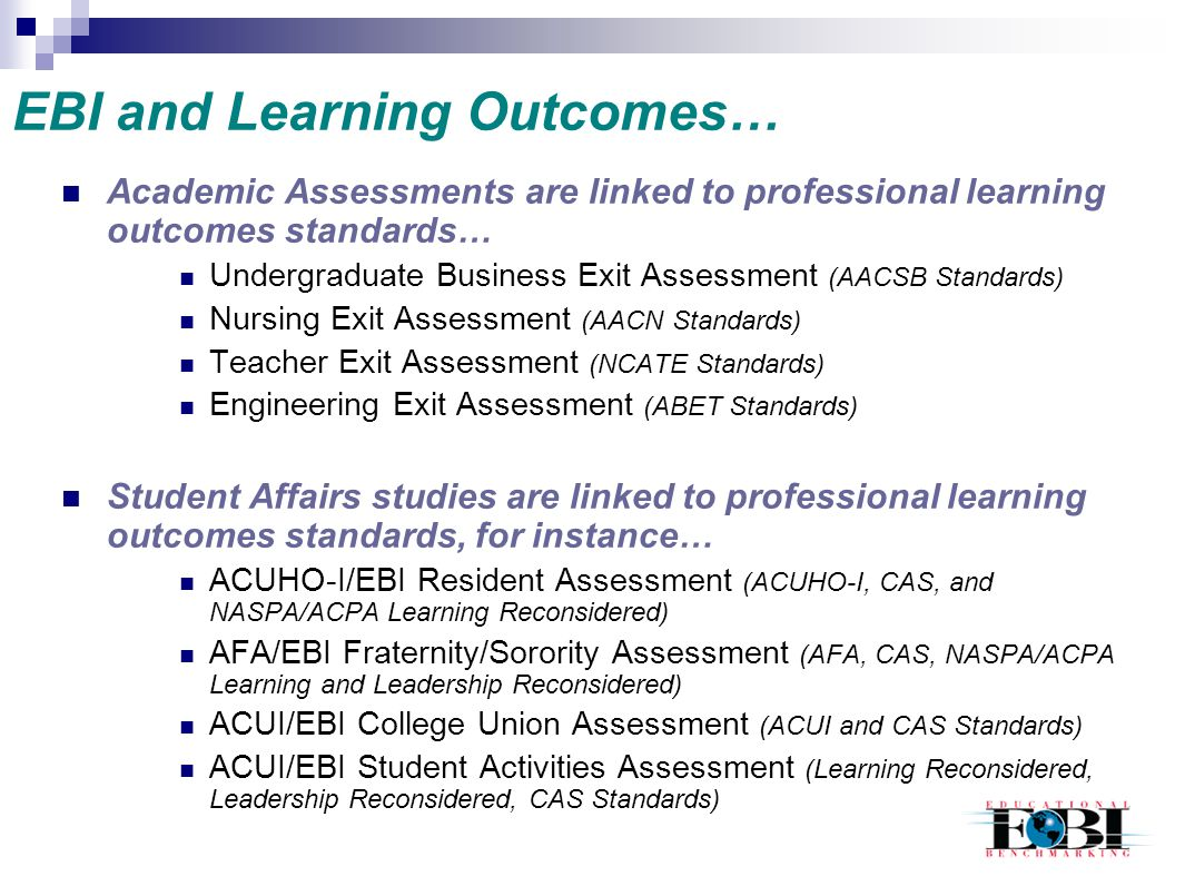 EBI and Learning Outcomes…