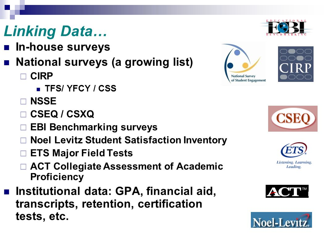 Linking Data… In-house surveys National surveys (a growing list)