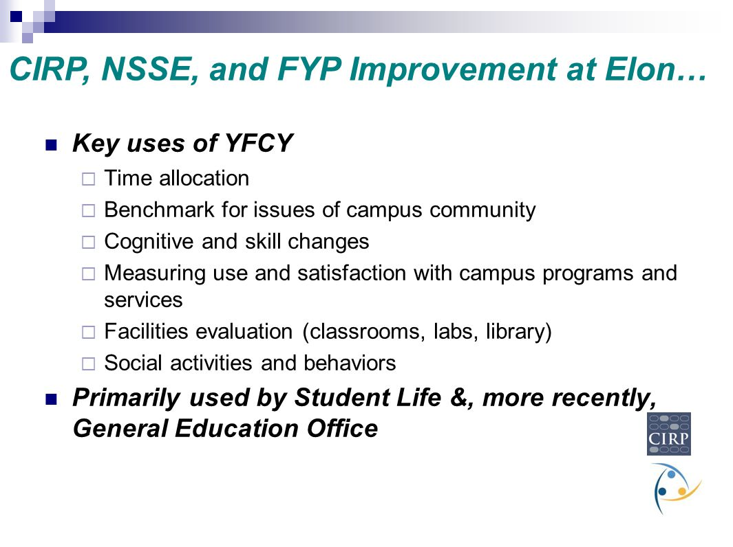 CIRP, NSSE, and FYP Improvement at Elon…