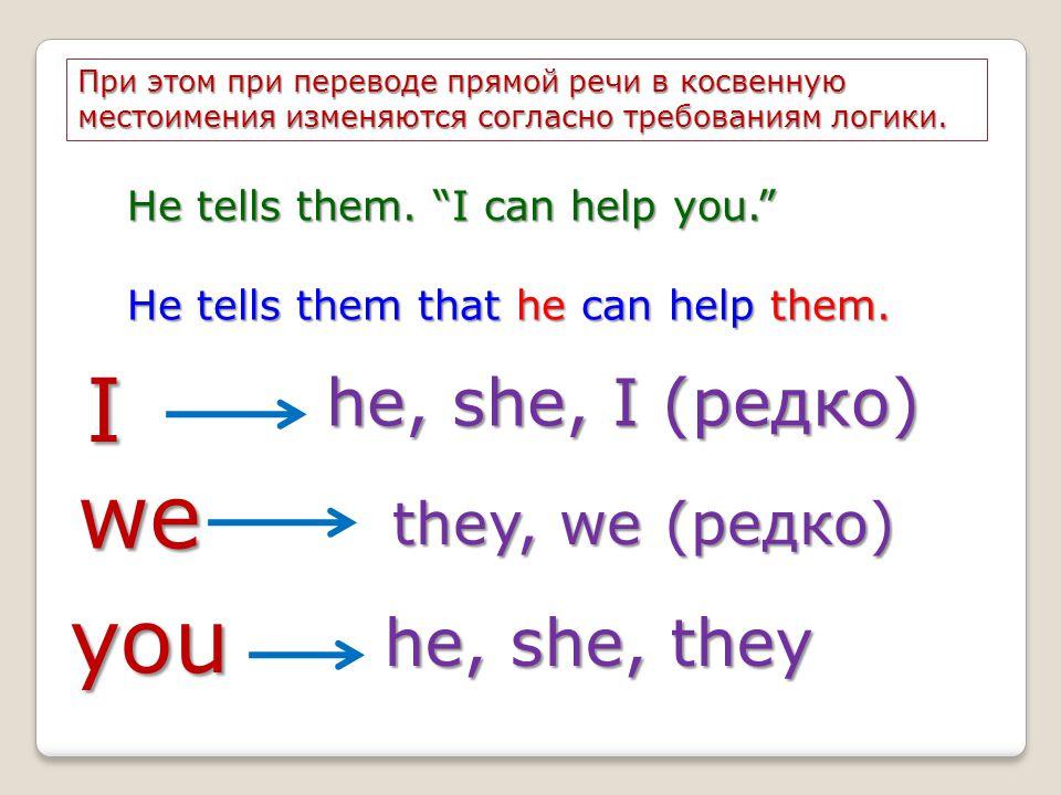 I we you he, she, I (редко) he, she, they they, we (редко)