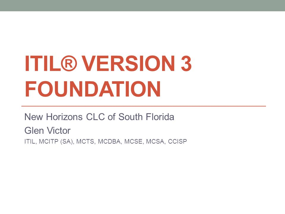 ITIL® Version 3 Foundation