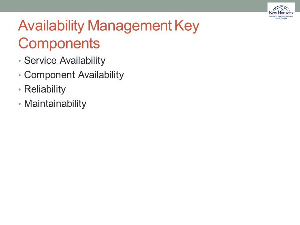 Availability Management Key Components