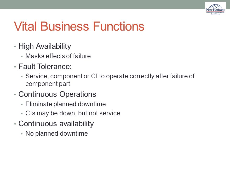 Vital Business Functions