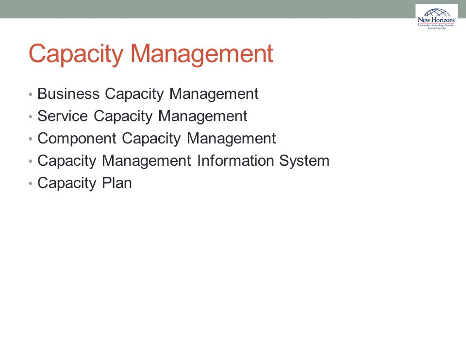 Capacity Management Business Capacity Management