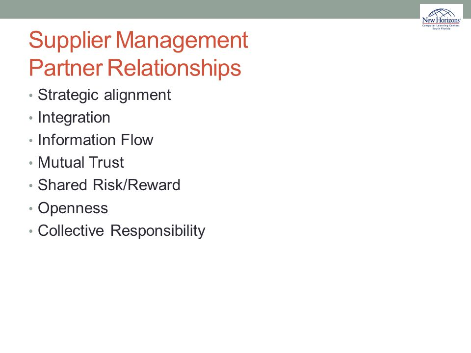 Supplier Management Partner Relationships
