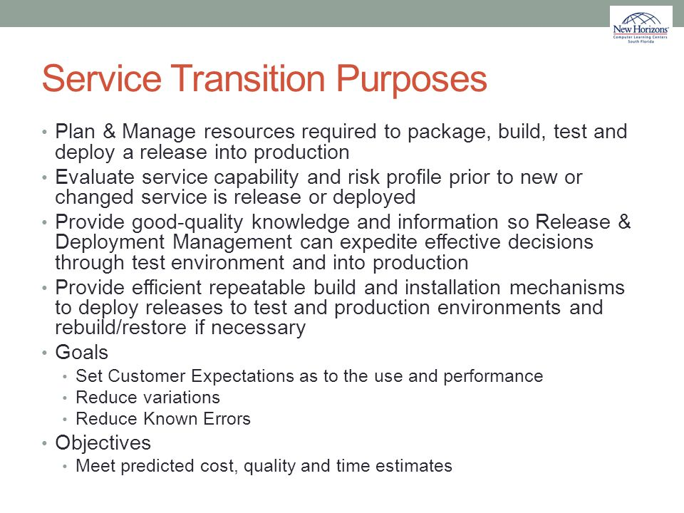 Service Transition Purposes
