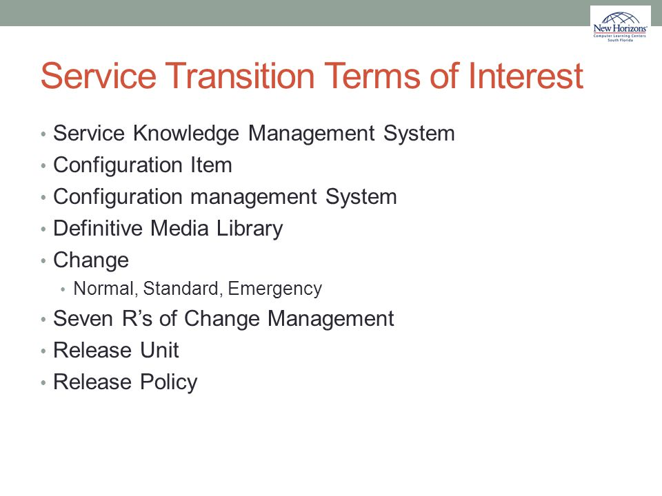 Service Transition Terms of Interest