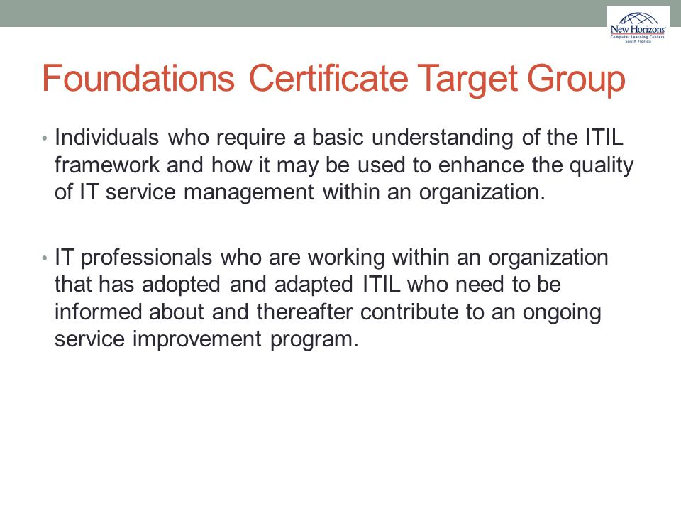 Foundations Certificate Target Group
