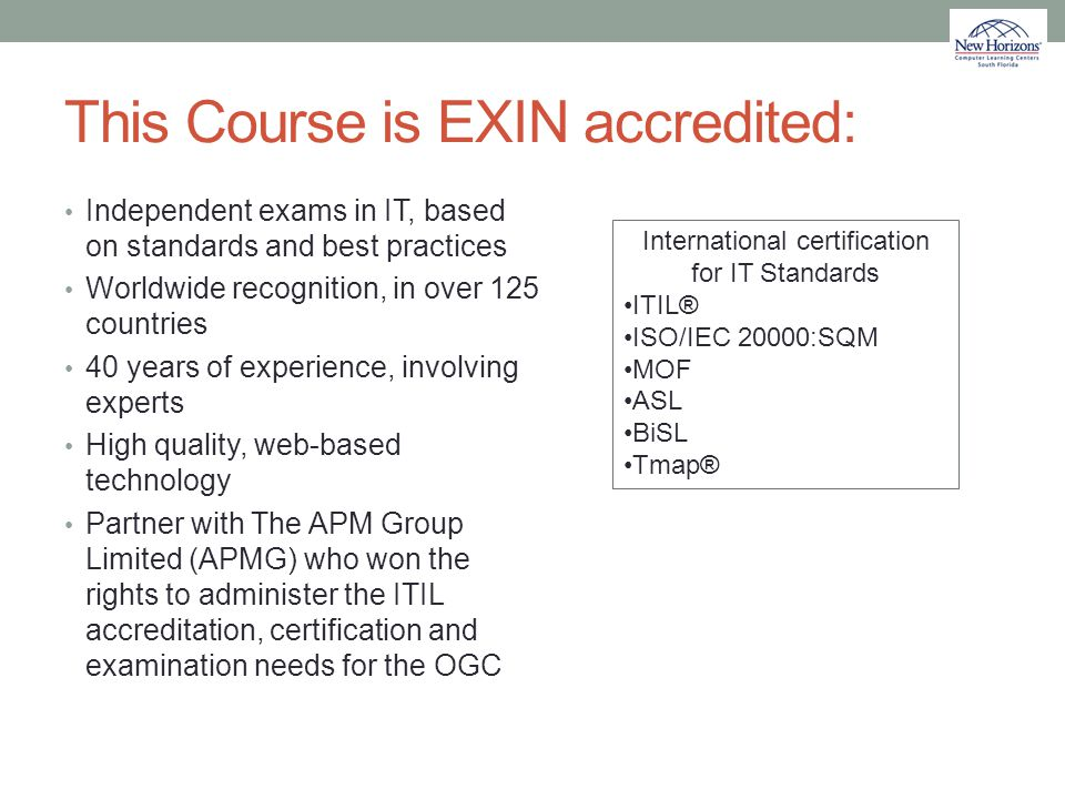 This Course is EXIN accredited:
