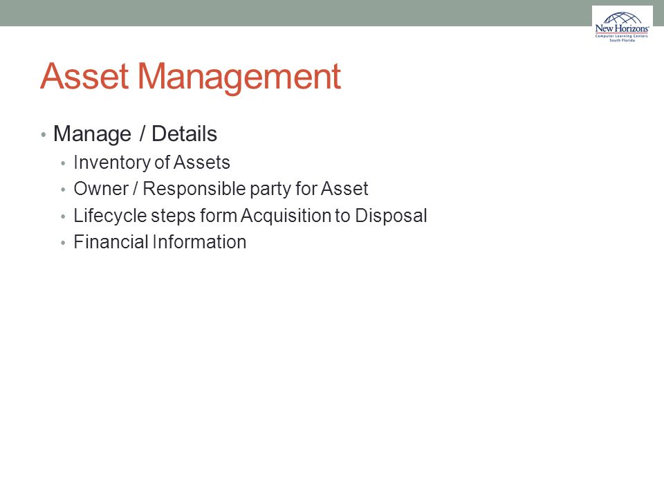 Asset Management Manage / Details Inventory of Assets