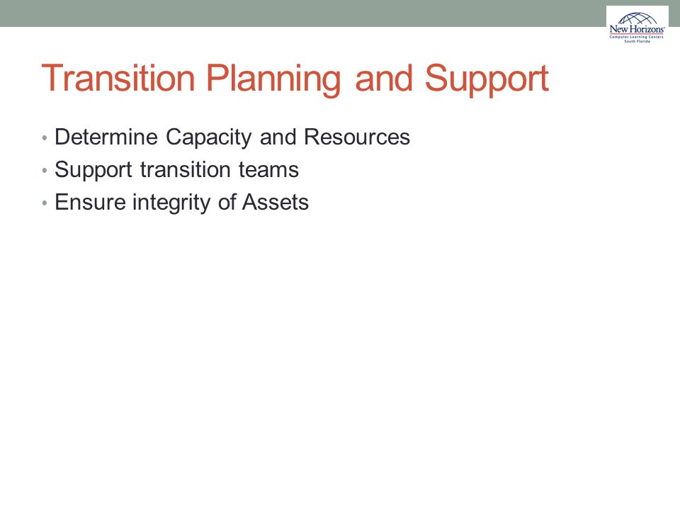 Transition Planning and Support