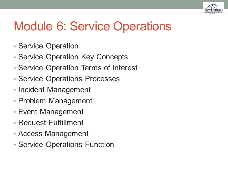Module 6: Service Operations