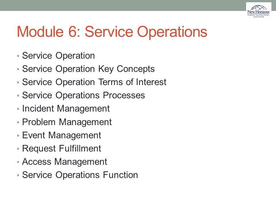 Module 6: Service Operations