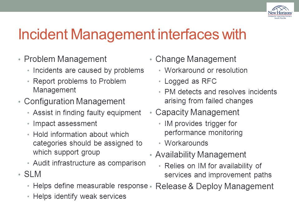 Incident Management interfaces with