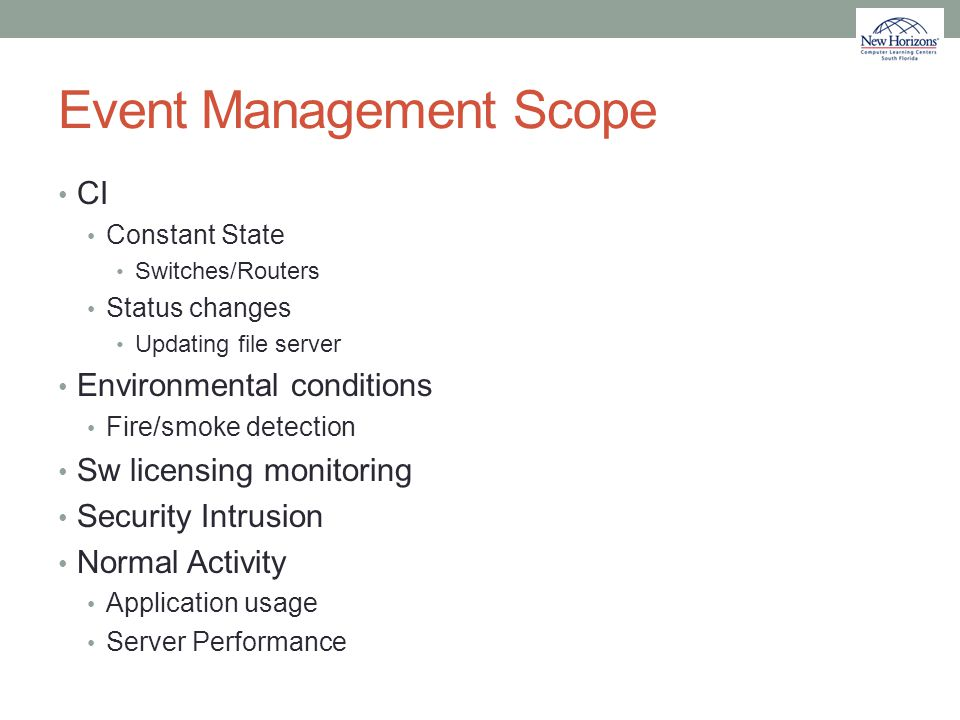 Event Management Scope