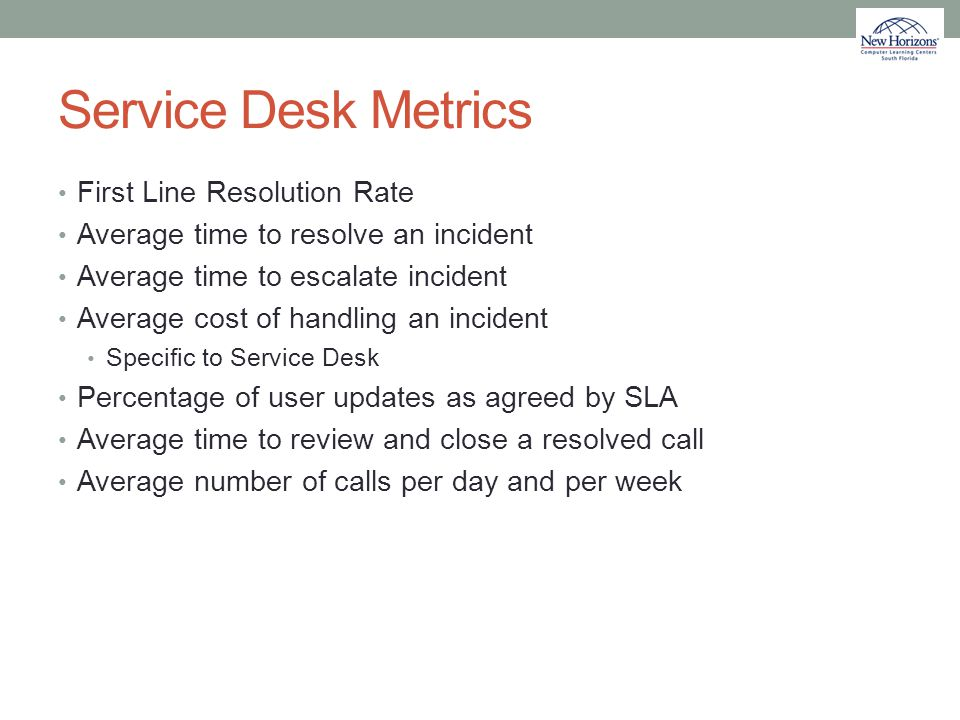 Service Desk Metrics First Line Resolution Rate