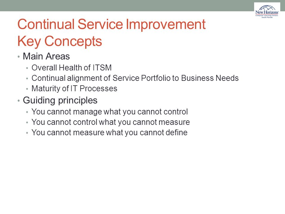 Continual Service Improvement Key Concepts