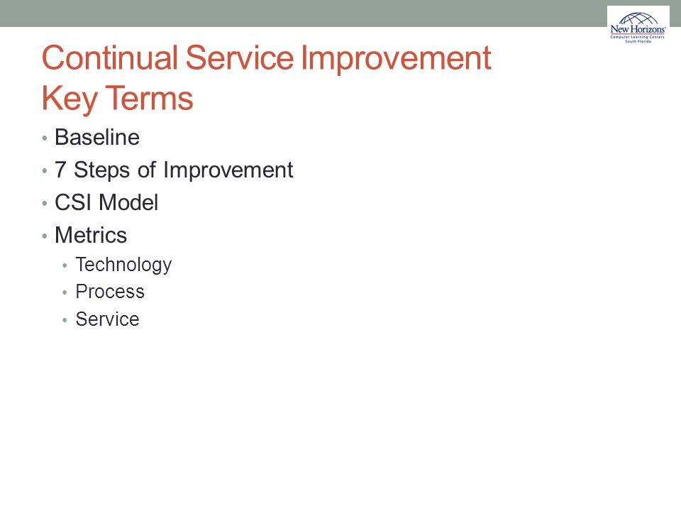 Continual Service Improvement Key Terms