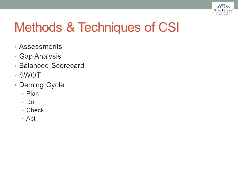 Methods & Techniques of CSI
