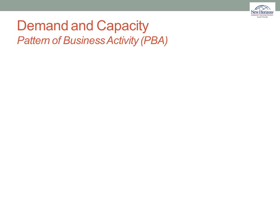 Demand and Capacity Pattern of Business Activity (PBA)