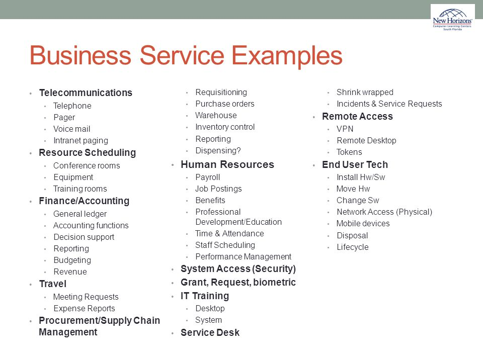 Business Service Examples