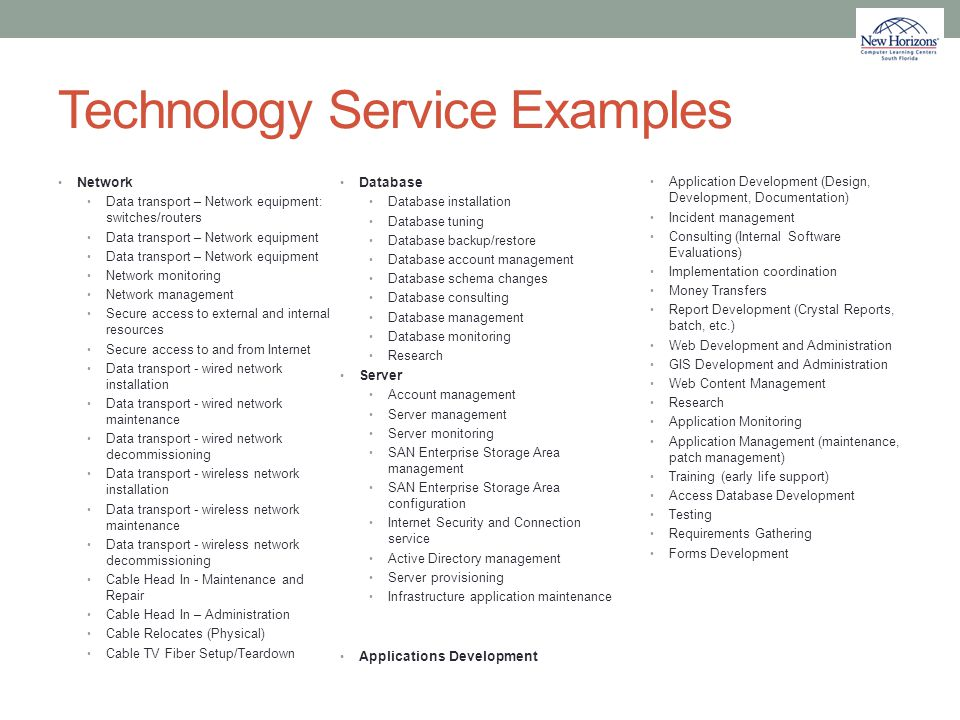 Technology Service Examples