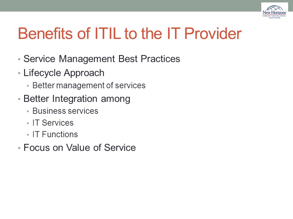 Benefits of ITIL to the IT Provider