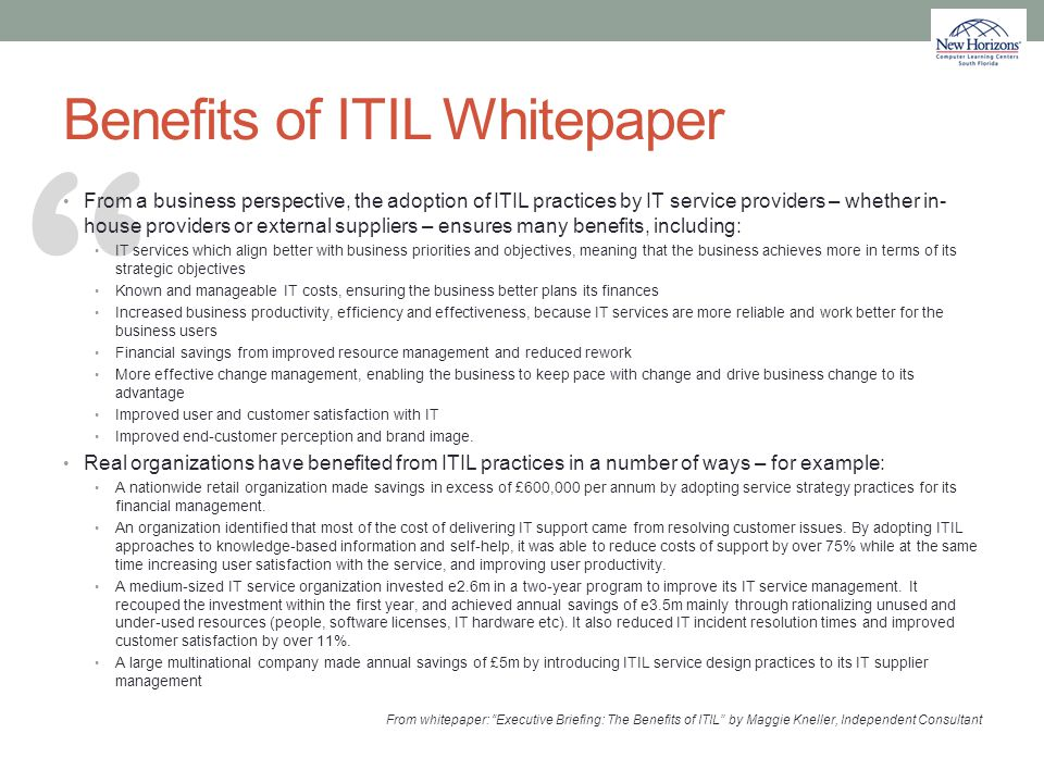 Benefits of ITIL Whitepaper