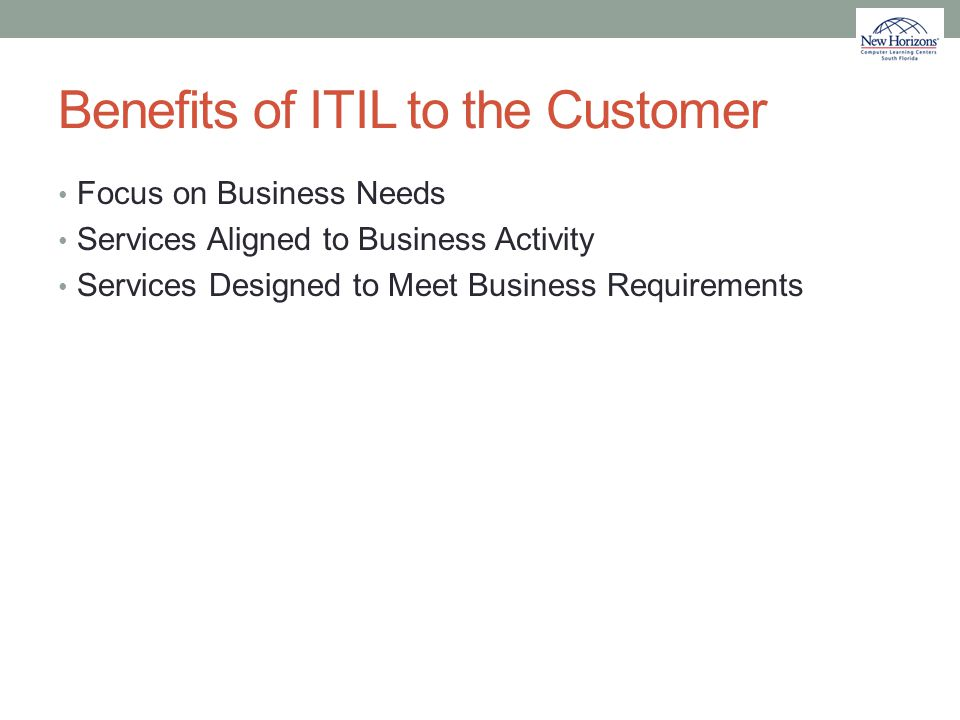 Benefits of ITIL to the Customer