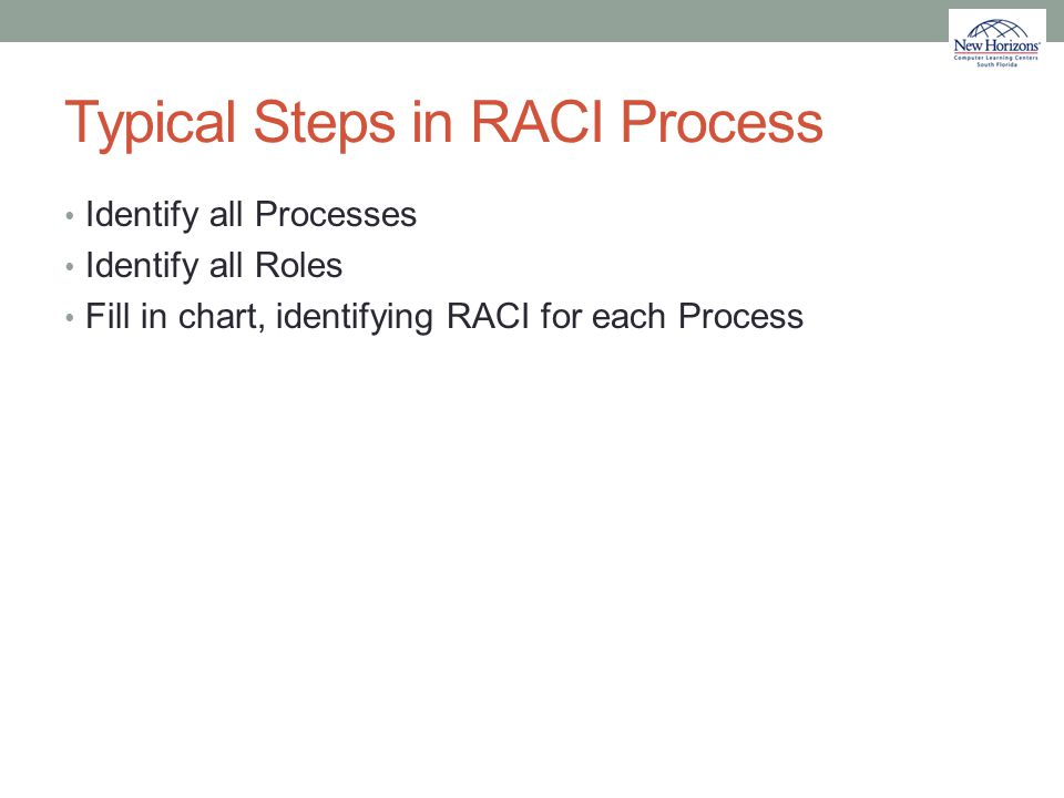 Typical Steps in RACI Process
