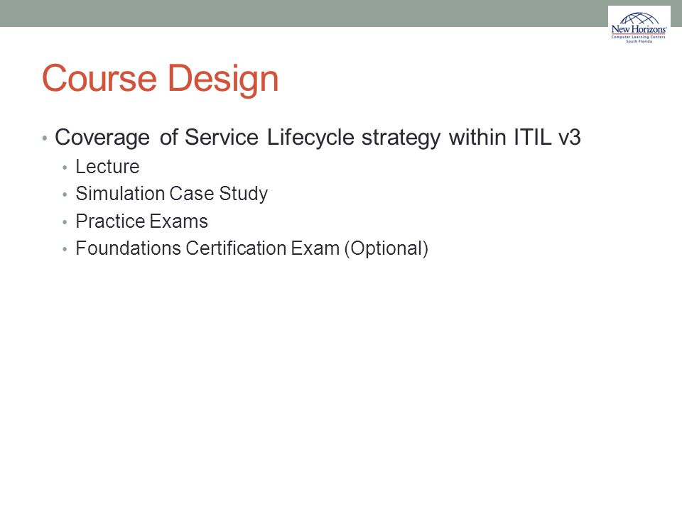Course Design Coverage of Service Lifecycle strategy within ITIL v3