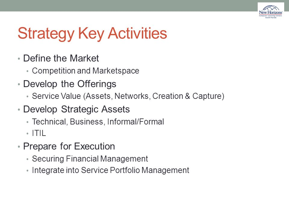 Strategy Key Activities