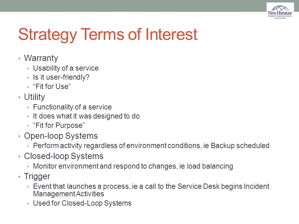 Strategy Terms of Interest