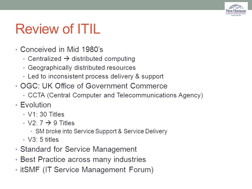 Review of ITIL Conceived in Mid 1980's