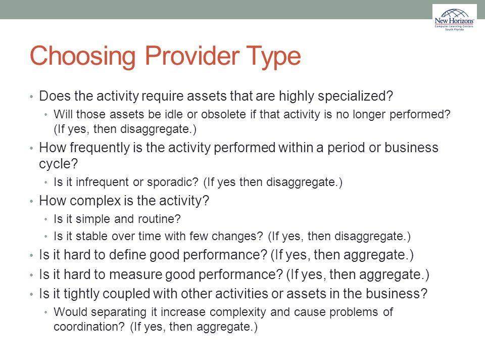Choosing Provider Type