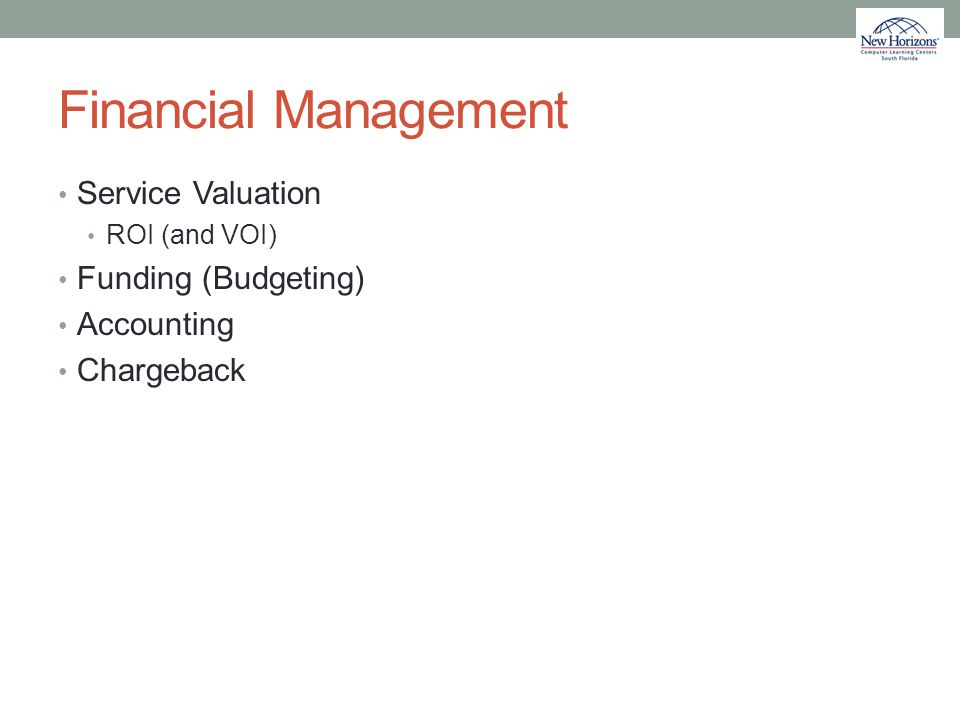 Financial Management Service Valuation Funding (Budgeting) Accounting