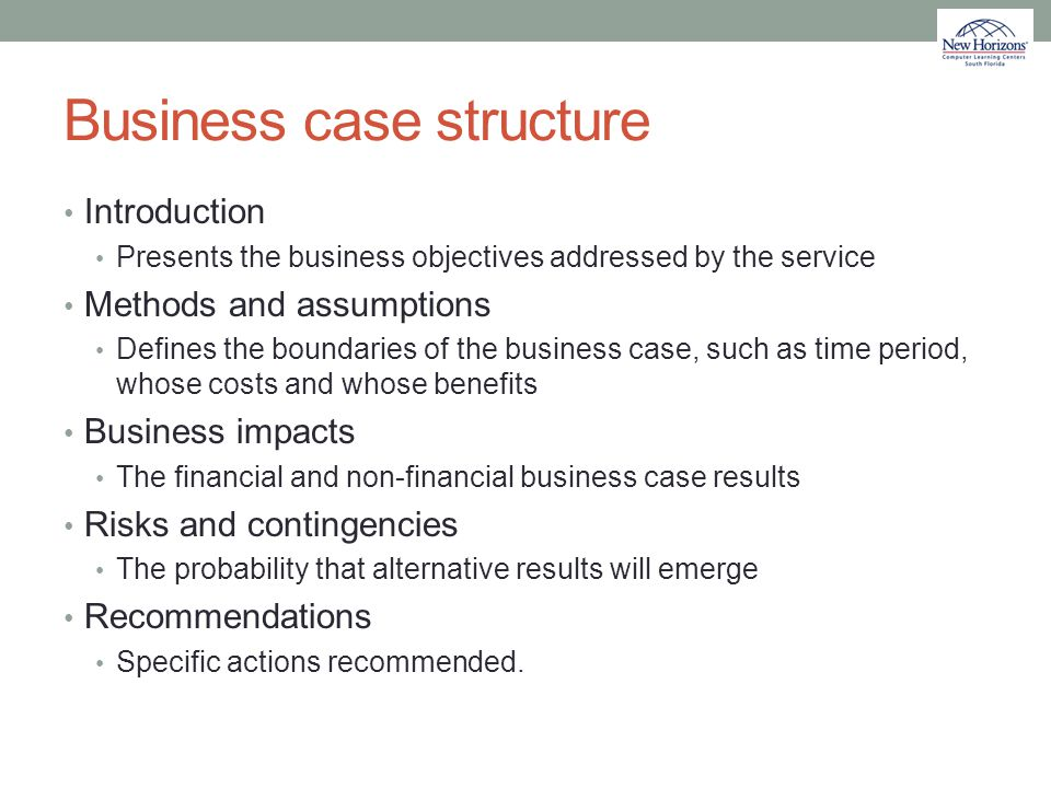 Business case structure