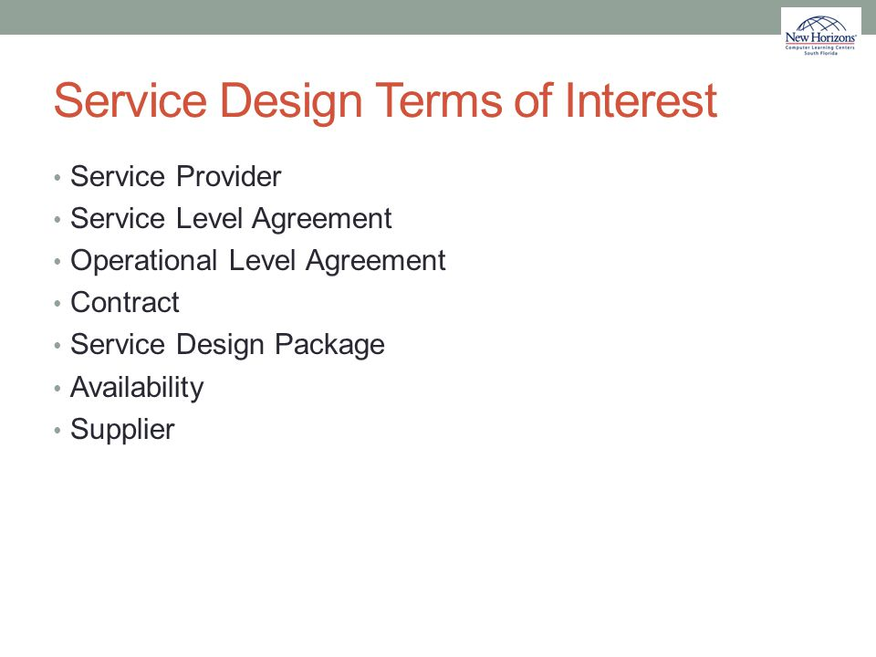 Service Design Terms of Interest