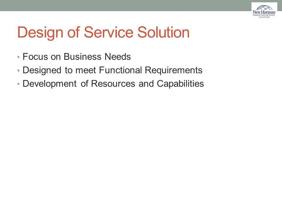 Design of Service Solution