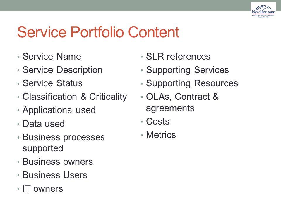 Service Portfolio Content