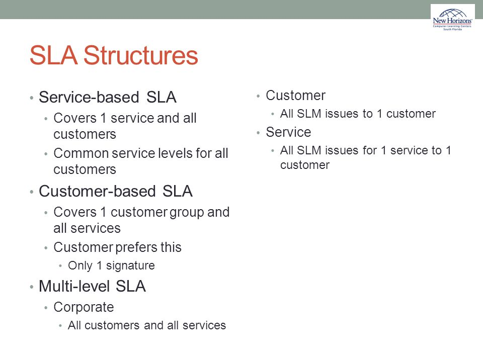 SLA Structures Service-based SLA Customer-based SLA Multi-level SLA