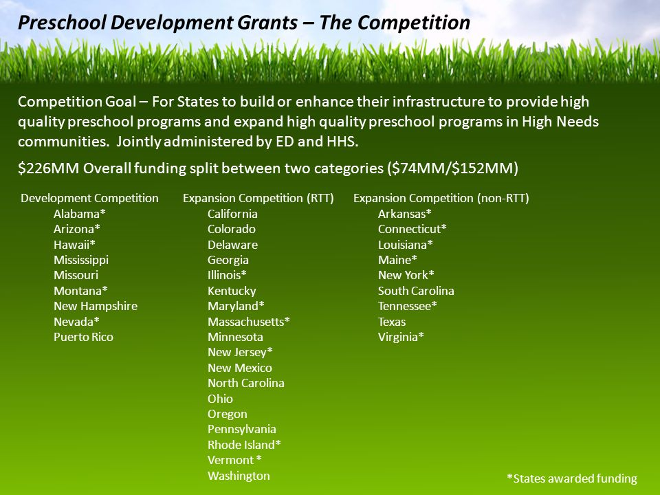 Preschool Development Grants – The Competition