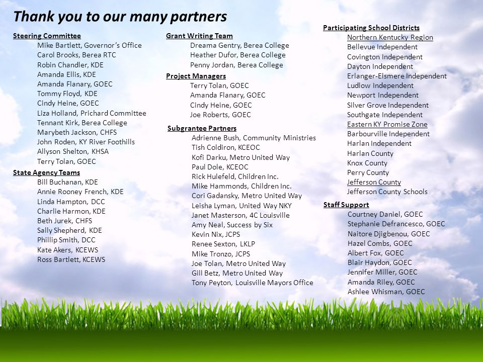 Thank you to our many partners