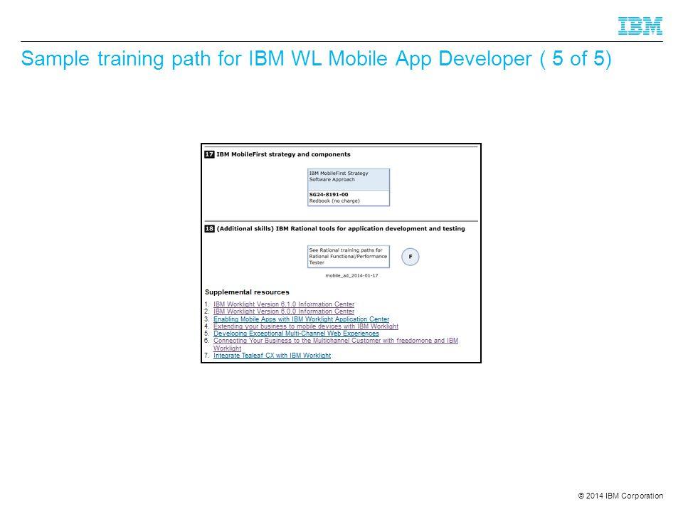 Sample training path for IBM WL Mobile App Developer ( 5 of 5)