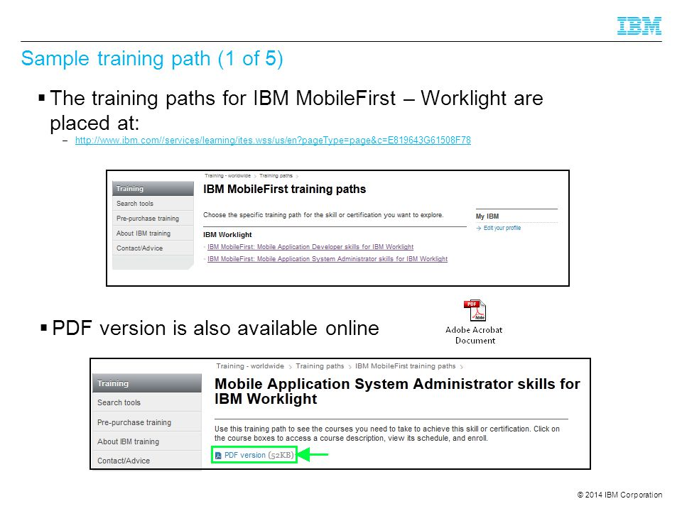 Sample training path (1 of 5)